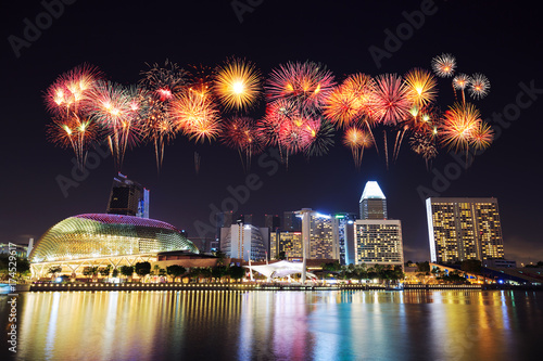 firework over Singapore cityscape Poster