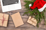 Christmas decoration wrapped gifts Office working place flat lay