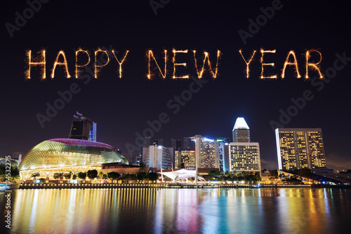 2018 Happy new year firework with Singapore cityscape at night Poster