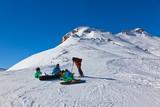 Skiers at mountains ski resort Bad Gastein Austria - 174534024