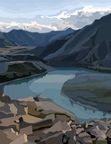 painted background view of a mountain valley with a river - 174537241