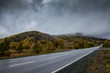 Road in the mountains with low clouds