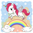 Cute Cartoon Unicorn and rainbow