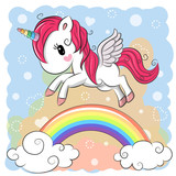 Cute Cartoon Unicorn and rainbow - 174546453