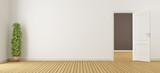 Empty white interior with door - 174547244
