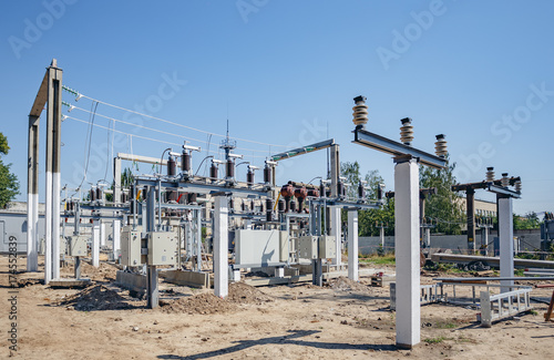 Electric power substation: electricity substation, power Line and power station. Equipment and cable.