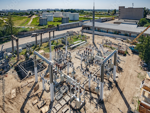 Top view of high-voltage substation with switches and disconnectors. Powe plant.