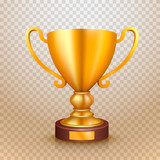 Winner cup gold sign. object on a transparent background. Vector illustration - 174555682