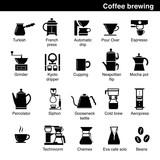 Set of coffee brewing methods. Vector elements