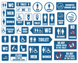 toilet icons and signs, wc vector labels - 174561203