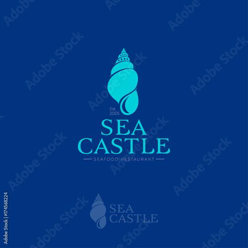 Fototapeta Sea Castle logo. Seafood restaurant emblem. Hotel or Villa logo. Shell as castle on a blue background.