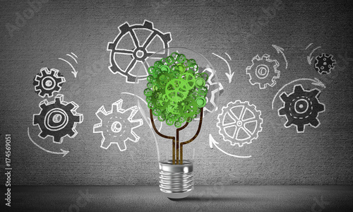 Eco innovations concept by means of lightbulb.