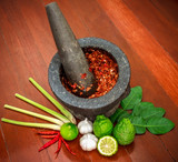 Chili paste in Thai food Cooking ingredients and Paste of thai popular food red curry and green curry. - 174571873
