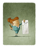 businesswoman holds in his hand a to-do list and in the other hand a pencil - 174575205