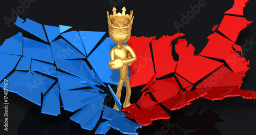 The King Of America With A Shattered America 3D Illustration
