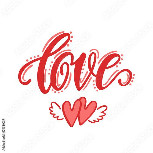 Póster Amor. Dibujado a mano diseño de letras.