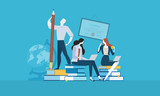 Education. Flat design vector illustration concept for web banner and advertising material. - 174585268