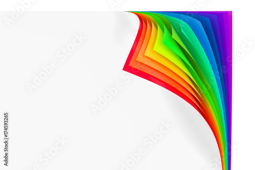 Colored rainbow curled corners, 3D rendering