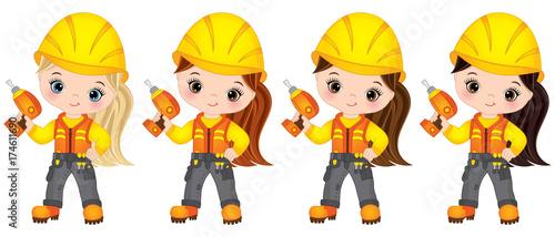 Vector Cute Little Girls Builders Drilling