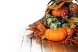 Pumpkins, gourds, and leaves in an Autumn cornucopia background - 174638841
