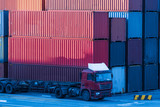 colorful containers at port,china. - 174641415