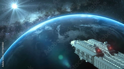 Keuken foto achterwand Schip Spaceship orbiting a planet in space with a bright star in distance, sci-fi spacecraft flying through the Universe