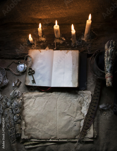 Magic fairytale table in the hut with window to the garden with open ancient book and burning candles