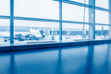 airport terminal and runway view,blue toned. - 174658670