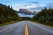 Road with mountains in the background. Taken in Icefields Pkwy, Banff National Park, Alberta, Canada.