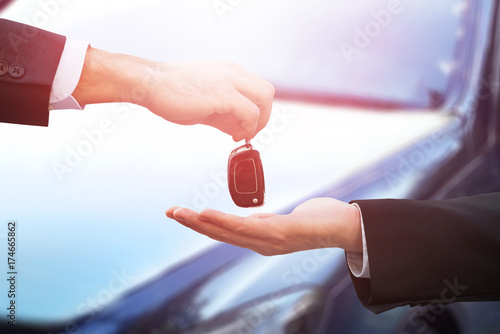 Fridge magnet Car Dealer Giving Keys To Businessman