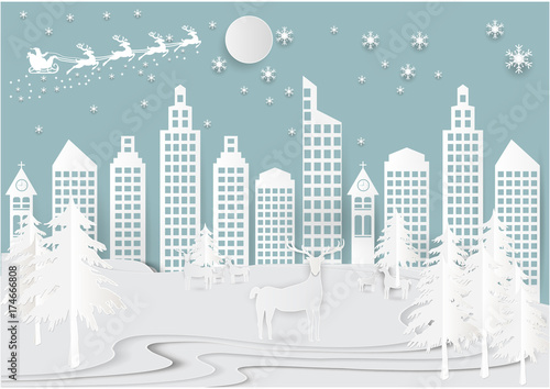 Winter holiday snow in city town background with santa, deer and tree. Christmas season paper art style illustration. - 174666808