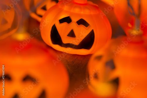 Closeup Shot of Illuminated Electric Halloween Lanterns - 174667694