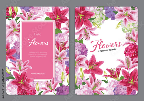 Colorful lilies flower and hydrangea on white background. Vector set of blooming floral for wedding invitations and greeting card design.
