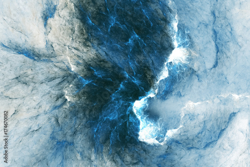Deurstickers Abstract wave Abstract blue marble texture. Fractal background. Fantasy digital art. 3D rendering.