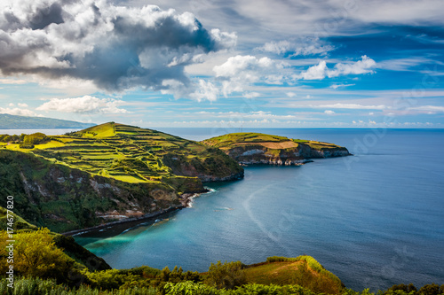 Foto op Plexiglas Blauwe jeans Beautiful panoramic view over Sao Miguel Island and Atlantic ocean from Miradouro De Santa Iria in Sao Miguel Island, Azores, Portugal