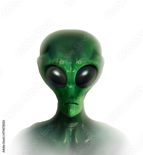Foto op Canvas UFO Portrait of an extraterrestrial in white background. 3D illustration