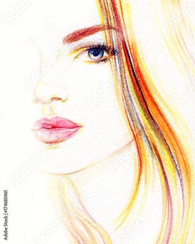 Fashion illustration. Beautiful woman