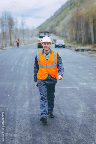 male worker road construction