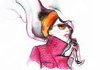Woman in coat. Fashion illustration. Beautiful woman  - 174681049