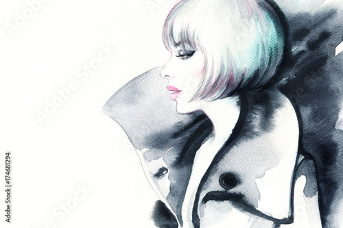 Woman in coat. Fashion illustration. Watercolor painting