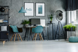 Home office with blue lamp