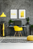 Hipster workspace with yellow equipment