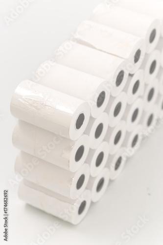 cash register tape on a white background - 174682692