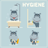 Set of funny hippo is hygiene: showering, washing hands, brushing her teeth. Collection of isolated hippopotamus in cartoon style for rules of child hygiene. - 174684832