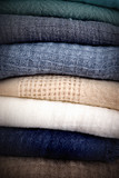 Stack of different folded knitwear - 174688695