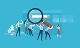Web search. Flat design business people concept. Vector illustration concept for web banner, business presentation, advertising material. - 174692008