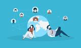 Social network. Flat design vector illustration concept for web banner, service presentation, advertising material. - 174692030