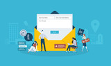 Contact us. Flat design business people concept. Vector illustration concept for web banner, business presentation, advertising material. - 174692053