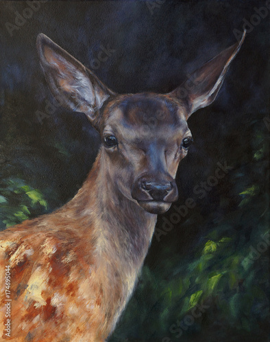 Plakat deer in the forest - wildlife picture painted with oil (canvas texture)