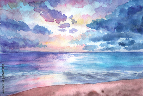 Plexiglas Lichtroze Hand drawn watercolor illustration. Seascape with sunset in the beach. tropical, nature, beuty, relax